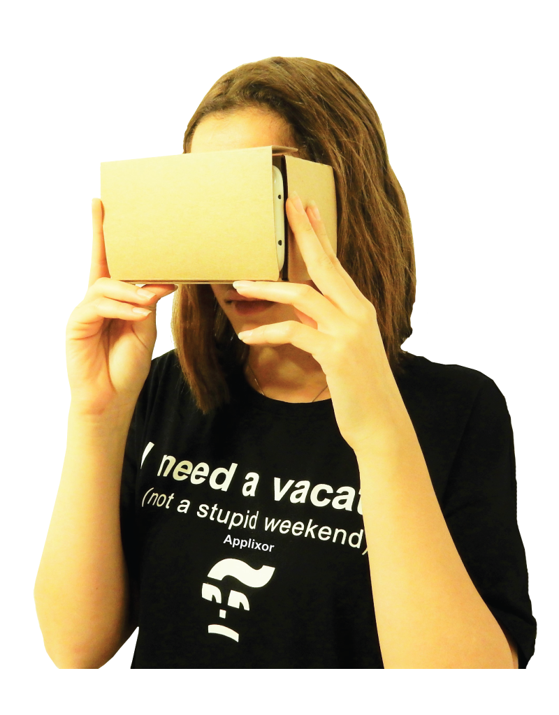 WOMAN USES VIRTUAL REALITY CARDBOARD